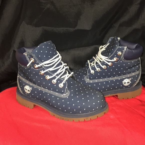 Timberland Other - Blue denim and white pot a dot Timberland boots